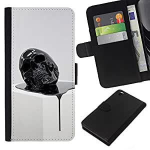 FU-OrionisDibujo PU billetera de cuero Funda Case Caso de la piel de la bolsa protectora HTC DESIRE 816 - Skull Melting 3D Abstract Death Oil
