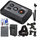 Nikon ML-L6 Wireless Shutter Release Remote Control with Battery & Charger + Bike & Head Strap Mounts + Selfie Stick Kit for KeyMission 170/360 Camera