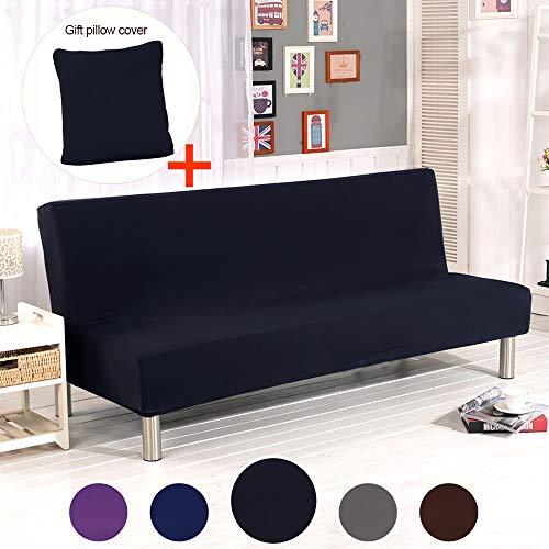 ele ELEOPTION Hengwei Armless Sofa Slipcover Stretch Sofa Bed Cover Protector Elastic Spandex Modern Simple Folding Couch Sofa Shield Futon Cover (Black)
