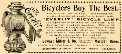 1899 Ad Edward Miller Everlit Bicycle Lamp Lighting Illumination Meriden Conn. - Original Print Ad from PeriodPaper LLC-Collectible Original Print Archive