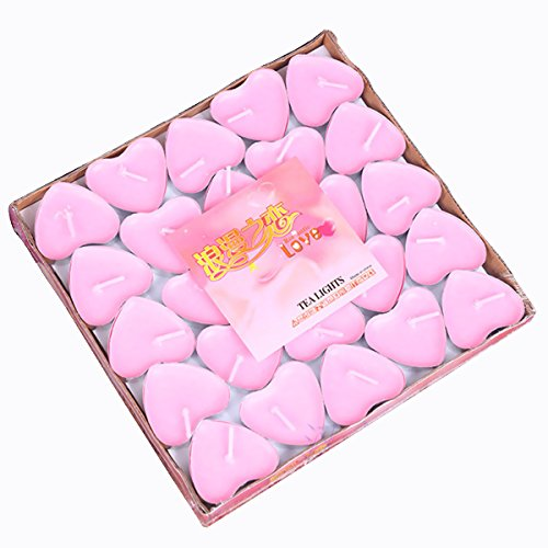 Glow Castle Smokeless Lovers Courtship Heart shaped candles for romantic wedding birthday with love candles (50pcs) (Pink)