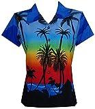 Hawaiian Shirt 42W Women Coconut Tree Print Aloha Top Blouse Dark Blue L