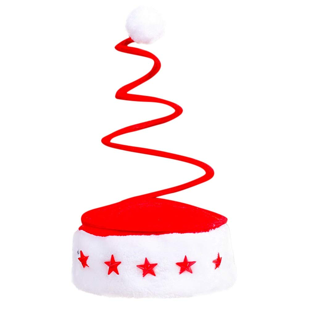 Forthery Funny Decorated Christmas Tree Spiral Spring Santa Hat Christmas Tree Coil Spring Hat
