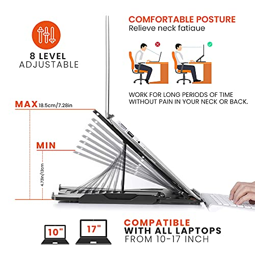 Portable Laptop Riser, Laptop Stand for desk, Macbook Stand, Adjustable Laptop Stand with Phone Holder and 360° Rotatable Base, Notebook Stand Compatible with All Laptops 13 15 17\