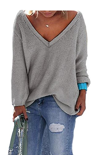 Forlisea Women's V Neck Long Sleeve Casual Pullover Sweater Sweatshirt, Grey, Large
