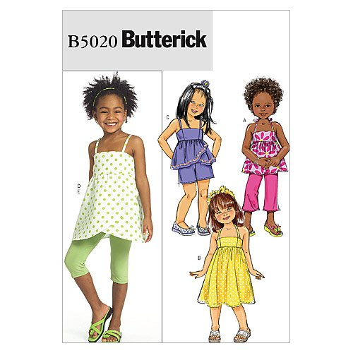 Butterick Patterns B5020 Children's/Girls' Top, Dress, Shorts, Pants And Leggings, Size CL (6-7-8)