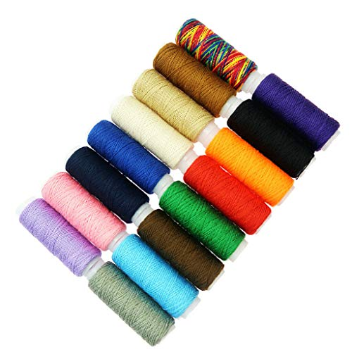 16Pcs Mixed Colours Polyester Sewing Threads Set for Quilting Sewing Craft