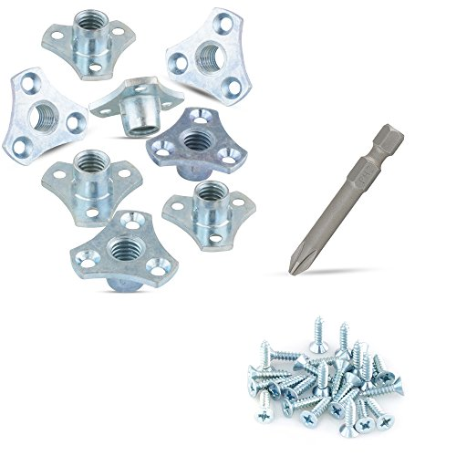 ((8-Pack) 3/8-16 Screw-on Tee Nut Kit - T-Nuts Come with Screws and #2 Phillips Power Bit)