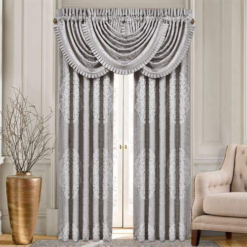 J Queen New York, Inc. La Scala Tailored Curtain Pair Silver 96 x 84