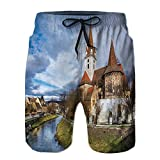 Men's Swim Trunks,Fortified Church of Cristian Summer Swim Suits