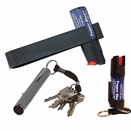 Auto and Personal Bundle: Pepper Shot 1/2 Oz w/Quick Key Release Key Chain, Auto Visor with Pepper Shot Pepper Spray and Electronic Pocket Whistle - Lot of 3 Pieces