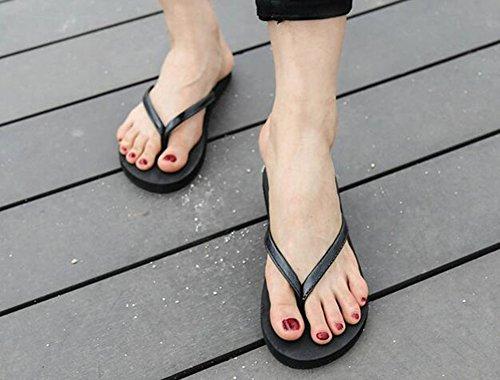 Sentao Mujer Chanclas de Piso Sandalia de Comodidad Playa Sandalias Negro