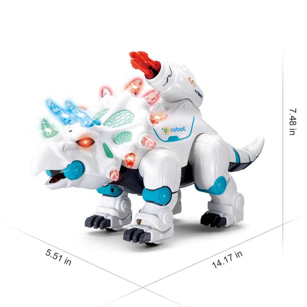 wodtoizi RC Robot Dinosaur Intelligent Remote Control Walking Dinosaur Toy Interactive Educational Dancing Singing Missiles Launching Water Mist Spraying Story Telling Learning Dino Robot Triceratops by wodtoizi (Image #7)