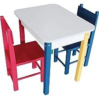 Carlu Brinquedos - Retangular Colorida Mesa com 2 Cadeiras de Madeira, Multicolorido, 5023