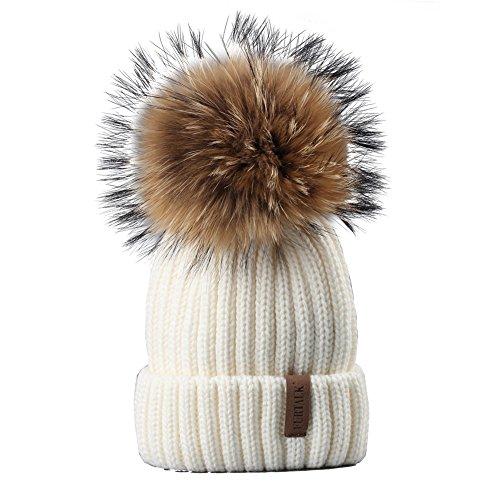 FURTALK Womens Girls Winter Fur Hat Real Large Raccoon Fur Pom Pom Beanie Winter Hats (White) ()