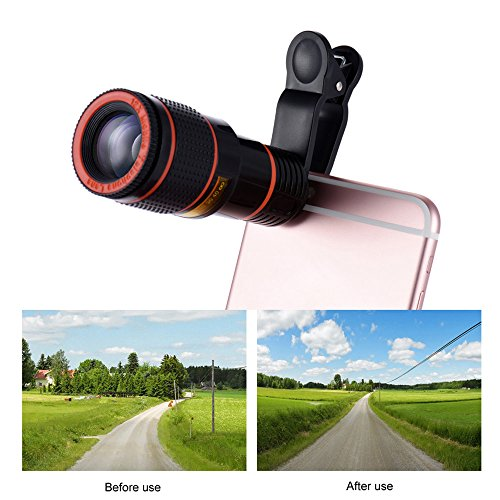 12X Telephoto Lens Optical Zoom Telescope Universal Manual Focus Removable Telescope Clip-on Camera Telephoto Lens for iPad, iPhone Smartphone