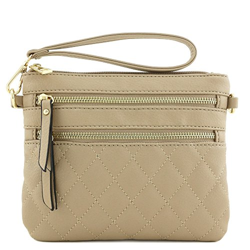 Pocket Bag Crossbody Taupe Multi Zipper Quilted fwvxWqEgPH