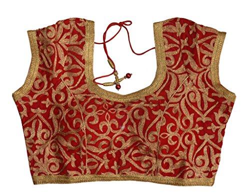 Charu Boutique Designer Red Stitched Velvet Saree Blouse