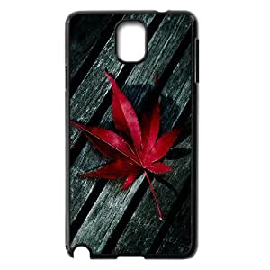 Dustin Red Maple Leaf on Wood Cases for Samsung Galaxy Note 3, with Black