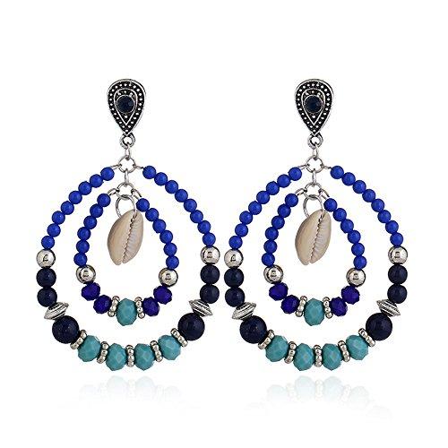 Engagement Dangle Ring Bead (Lihin Stylish Women Earrings Women Folk-Custom Glass Bead Stud Earrings Pendant Earrings Dangle Earrings(Royal Blue))