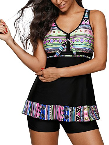 - Womens Swimsuit Halter Tankini Top and Skort Bottom Set bathing suits A blue XX Large US 12-14