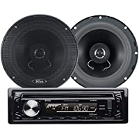 BOSS AUDIO 654CK  Package Includes 648UA Single-DIN CD/MP3 AM/FM CD Receiver With USB and SD Memory Card Ports Plus one Pair of 6.5 inch Speakers