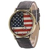 Retro United States Flag Black Band Quartz Analog Wrist Watch