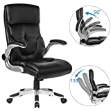 YAMASORO Executive Office Chair High Back - Ergonomic Leather Computer Chairs with Flip-Up Arms,Headrest,Lumbar Support 300lbs Black …