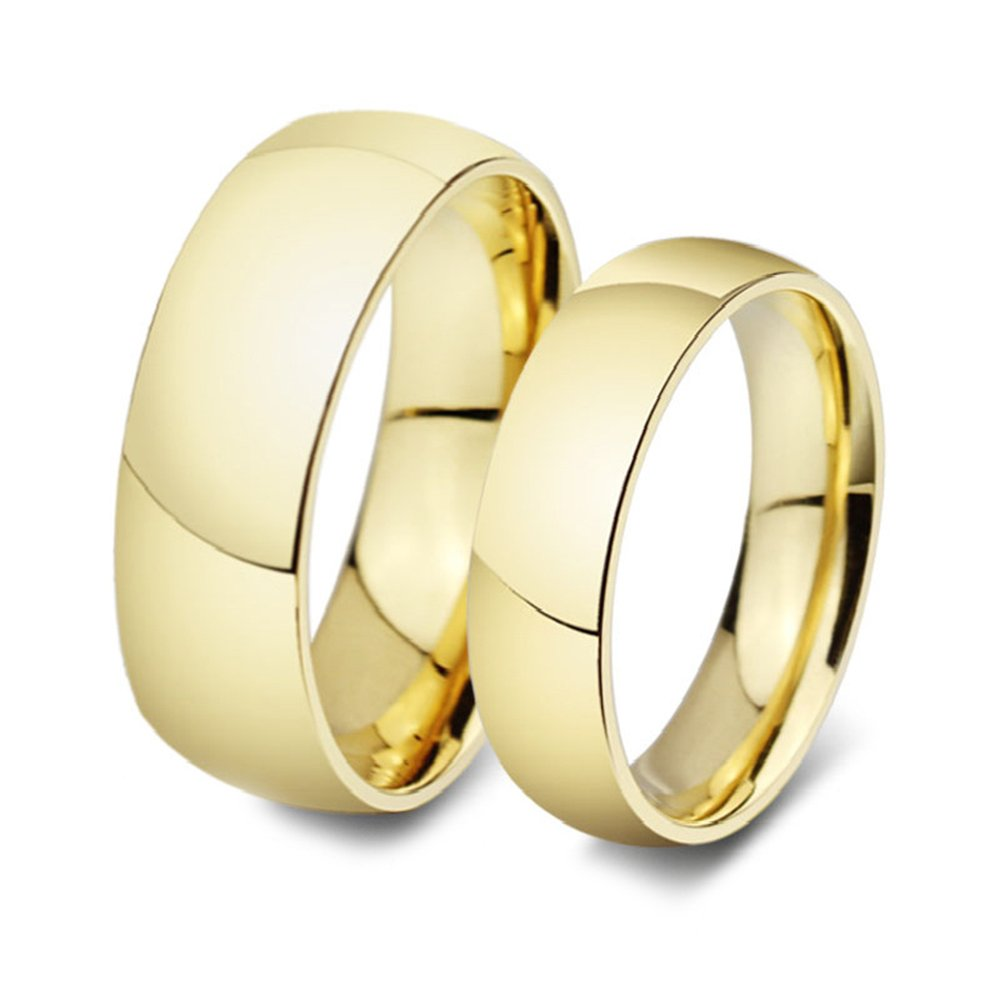 His & Her's 8MM/6MM 316L Stainless Steel Classic Dome Shape Shiny Wedding Band Ring Set
