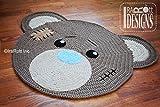 Teddy Bear Rug Room Decor/ Baby tummy time mat/ Playtime mat (Grey)