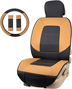 AmazonBasics Deluxe Sideless Universal Fit Leatherette Seat Cover Set with Wheel Cover and Seatbelt Pads, Black and Brown