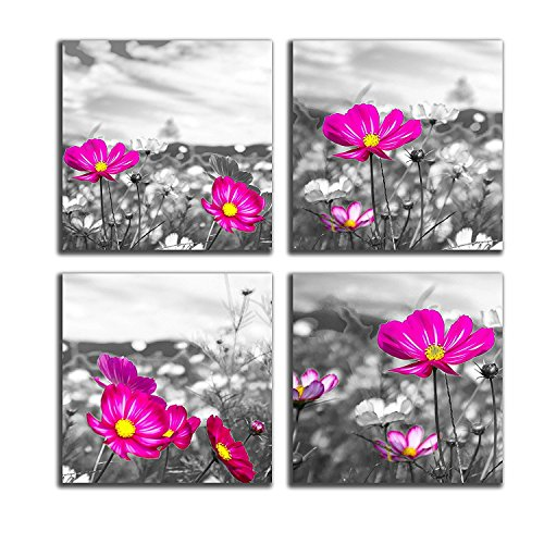 NAN Wind 4 Pcs Canvas Print Black and White Peacock Pink Vase Flowers Abstract Paintings Purple Flowers Artwork The Picture For Living Room Decoration Flowers Prints On Canvas 12X12inches (Print Black Art Purple)