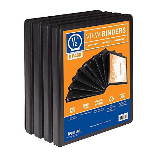 Samsill S88410 3 Ring Durable View Binders - 8 Pack, 1/2 Inch Round Ring, Non-Stick Customizable Clear Cover, Black (Renewed) (Ring With Images)