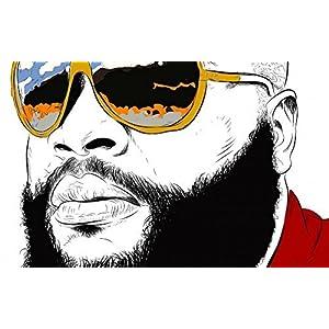 Tomorrow sunny Music RICK ROSS gangsta rapper rap hip hop sunglasses glasses reflection 24x36 inch Silk Poster wall decor