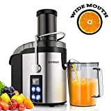 GEARGO Juicer Extractor, Wide Mouth LED Display Stainless Steel Centrifugal Juicer, 800W Motor