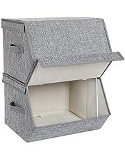 SONGMICS Zestaw 2 pudełek do przechowywania z magnetyczną składaną pokrywką, składane pudełka z obiciem materiałowym, metalowa rama i boczne uchwyty, na akcesoria, zabawki, ubrania RLB02GY