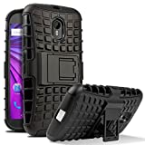 Chevron Dual Armor Kick Stand Back Cover Case for Moto G 3rd Generation/Moto G Turbo ,Black