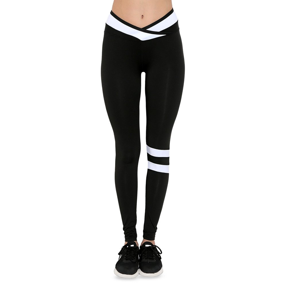 FUURY Womens Yoga Leggings High Waist Workout Running Leggings Yoga Activewear Pants Strip Colorblock Design (Black, M)