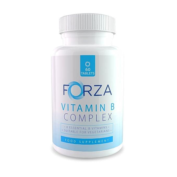 FORZA Vitamina B complejo – Ocho Vitaminas B en Cada Tableta Diaria - 60 Comprimidos/Para Un Mes