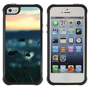 Híbridos estuche rígido plástico de protección con soporte para el Apple iPhone 5 / 5S - sea summer nature blurry focus beach