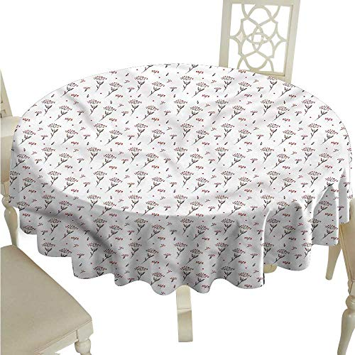 ScottDecor Fabric Tablecloth Flower,Watercolor Winter Berry Table Cover Round Tablecloth D 50