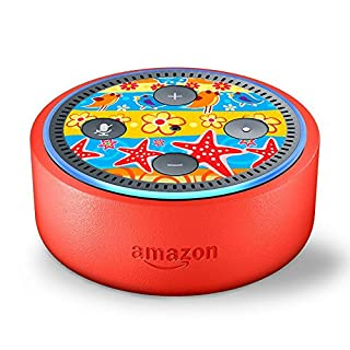 Skin Decal Vinyl Wrap for Amazon Echo Dot Kids Edition Stickers Decals Fun - Starfish and Flowers Beach Girls