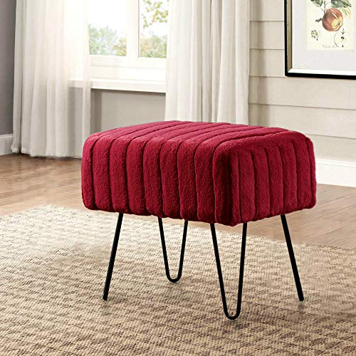 Home Soft Things Serenta Super Mink Faux Fur Ottoman Bench, 19