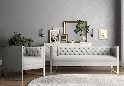 Tov Furniture Farah Collection Modern Linen Fabric Upholstered Living Room Set With Sofa and Chair, Stainless Steel Leg Finish, Gray