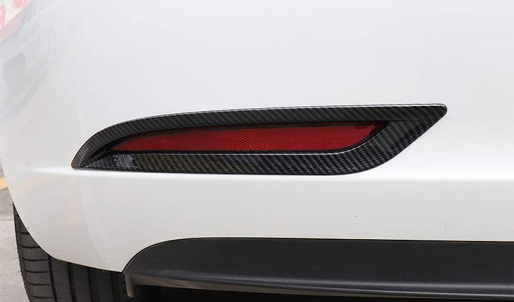 ABS Carbon Style YUZHONGTIAN 2018-2019 for Tesla Model 3 Car Front Side Light Lamp Strip Cover Trim ABS 2pcs