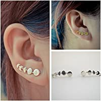 wanmanee Sweep Wrap Jewelry Ear Clip Moon Phases Climber Cuffs Earrings color silver