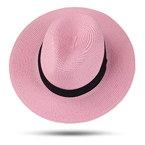 Taylormia Womens UPF 50+ Wide Brim Panama Straw Hat Foldable Fedora Beach Sun Hat (Pink)]()