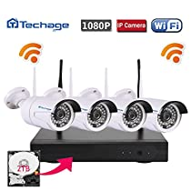 Techage Wifi Security System/ Wireless CCTV System Outdoor/ Indoor, 4CH 1080P 2.0MP Waterproof IP Camera, 65ft Night Vision, Plug & Play, 36 Led Lights Home Security Surveillance Kits With 2tb HDD