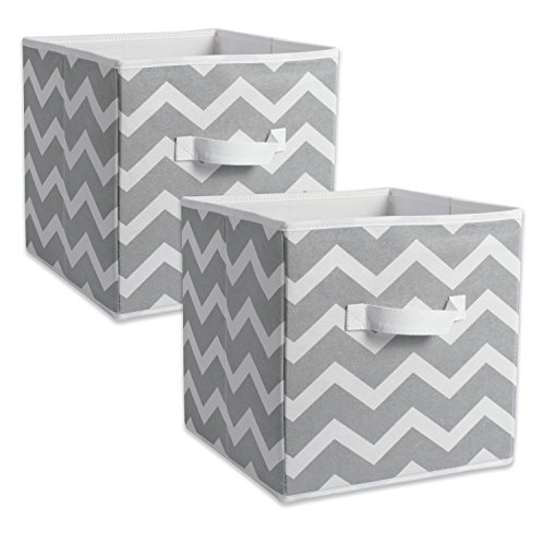 (DII Foldable Fabric Storage Bins for Nursery, Offices, Home, Containers are Made to Fit Standard Cube Organizers, Small, Gray)