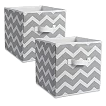 "DII Foldable Fabric Storage Containers for Nurseries, Offices, Closets, Home Decor, Cube Organizers & Everyday Storage Needs, (Large - 11 x 11 x 11"") Chevron Grey - Set of 2"
